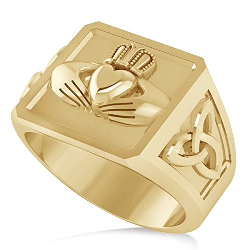 14K Yellow Gold Men's Celtic Claddagh and Irish Trinity Signet Ring