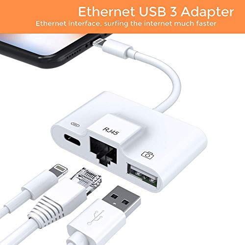 Enbia Lighting Ethernet Adapter, Phone Ethernet adapter For iPhone iPad, USB Camera Reader Adapter,Charging & Data Sync OTG Adapter Compatible With iPhone/iPad