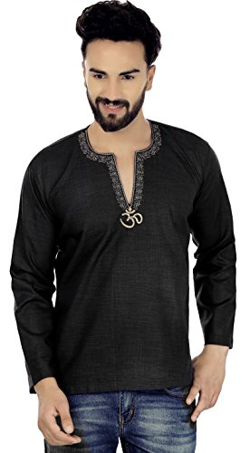 Maple Clothing Cotton Men's Short Kurta Embroidered Dress India Clothing (Black, L) ()