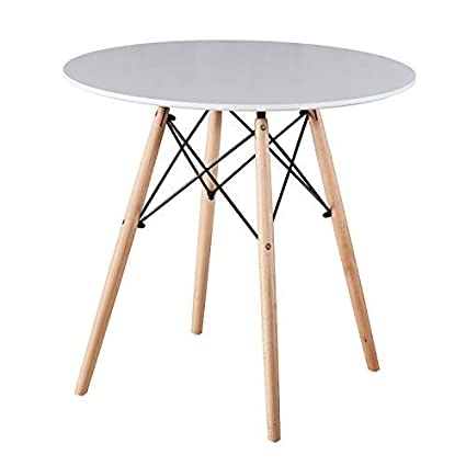 Mid Century Modern Eames Style Circular Kitchen Dining Table Office Conference Desk Round Coffee Table Leisure Wood Tea Table With Natural Solid
