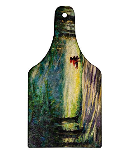 (Ambesonne Fantasy Cutting Board, Watercolor Ancient Traditional Story Illustration Girl with Red Dress Brush Strokes, Decorative Tempered Glass Cutting and Serving Board, Wine Bottle Shape, Multicolor)