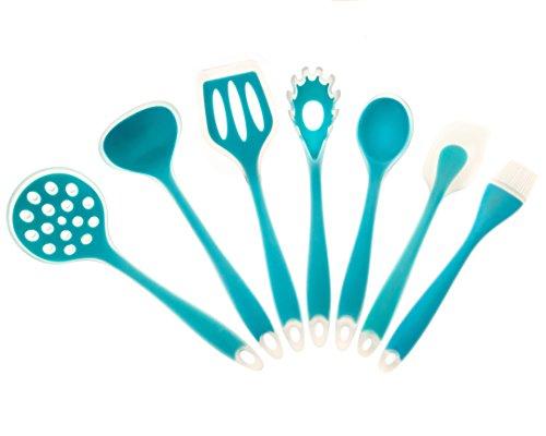Intriom Set of 7 Kitchen/Baking, BPA free FDA food garde Silicone Utensils, light Blue -Spatula , Mixing Spoon , Ladle , Pasta Fork Server , Drainer, egg brush