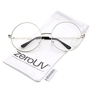 zeroUV - Oversize Metal Frame Slim Temple Clear Lens Round Eyeglasses 60mm (Silver/Clear)
