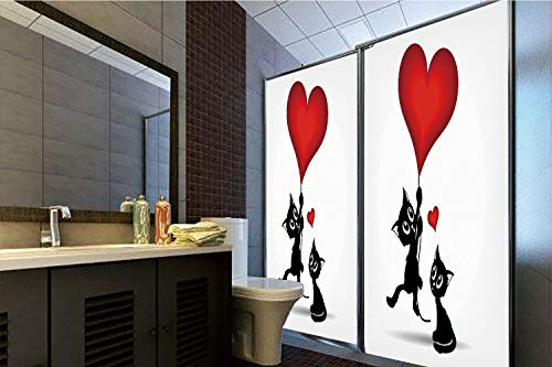 Horrisophie dodo 3D Privacy Window Film No Glue,Valentines Day Decor,Baby Cats Holding Heart Shaped Baloons Romance Love Themed Image,Red and Black,70.86