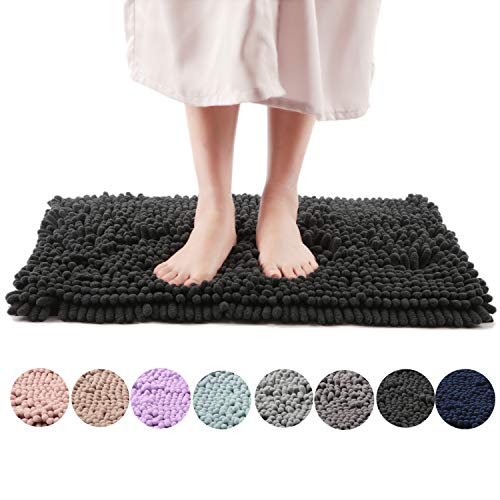 Freshmint Chenille Bath Rugs Extra Soft and Absorbent Microfiber Shag Rug, Non-Slip Runner Carpet for Tub Bathroom Shower Mat, Machine-Washable Durable Thick Area Rugs (16.5