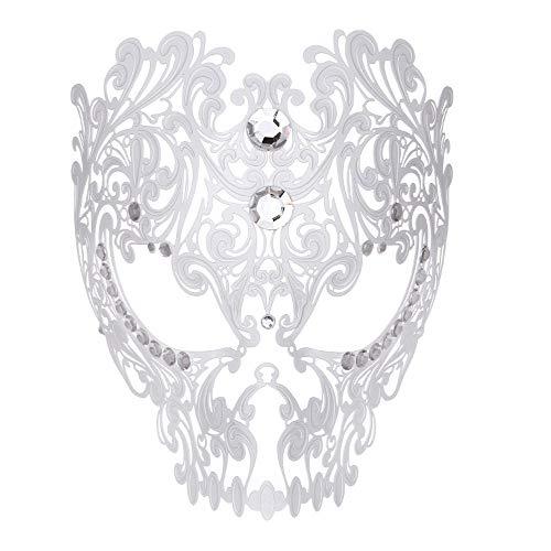 Rehoty Devil Full Face Skull Masquerade Mask Men Women Halloween Party Metal Venetian Masquerade Mask with Rhinestone -