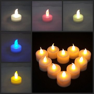 10 Pcs Led Lights Candles Flameless Tea Candle Lamp Light Electronic Candle Party Home Wedding Decor^.