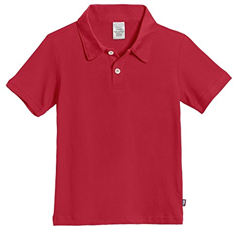 City Threads' Boys All Cotton Short Sleeve 2 Button Polo Uniform Shirt for School Semi Formal Event, Perfect for Sensitive Skin SPD, Uniform Red, 6 by City Threads