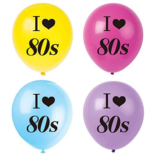 (MAGJUCHE I Love 80s Balloons, 16pcs 1980s Retro Themed Party Decorations,)