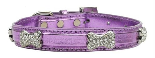 Mirage Pet Products Metallic Crystal Bone Collars, Purple, Small Crystal Bone Leather