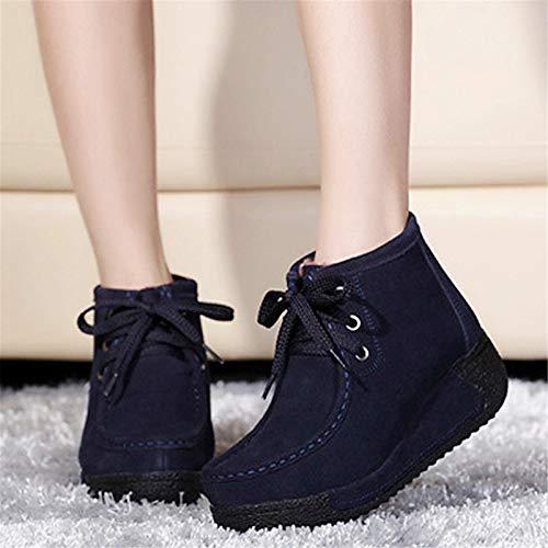 Oscuro Botas Creepers Zapatos Ante Negro Dark fucsia De Blue Deportivo Para Iwxez casual azul Otoño Mujer Confort invierno C4Fq6x6w