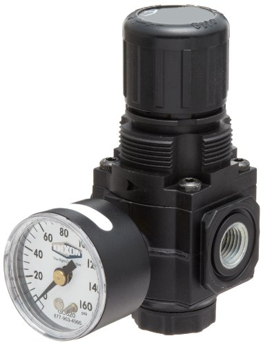 "Dixon R72G-2RG Norgren Series Regulator with Gauge, 1/4"" Size, 70 SCFM, 1/4"" Port Size, 5-125 PSI"