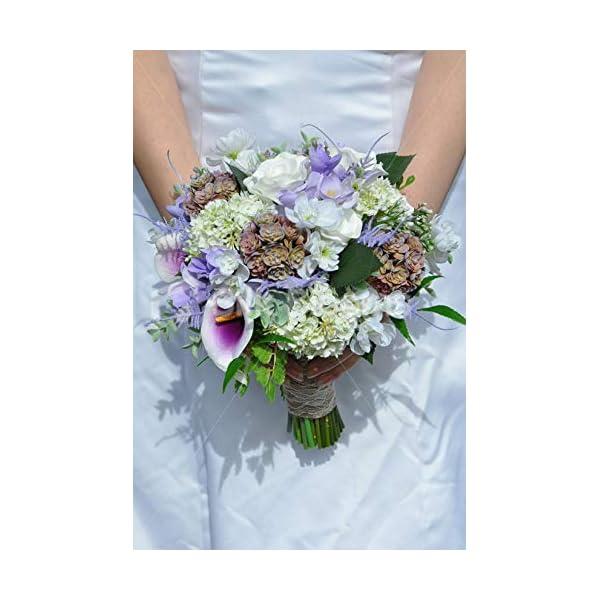 Silk Blooms Ltd Artificial Lilac Calla Lily, Freesia and Rose Bridal Bouquet w/Mini Succulent Bunches