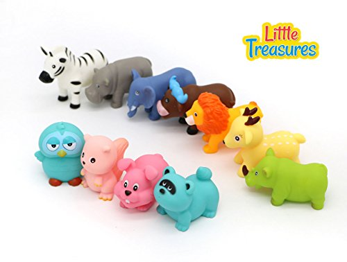 Mighty Toy Farm Series (Little Treasures Baby Animal Farm Collection Bathtub Toy Set Includes Cow, Rabbit, Owl, Raccoon, Hippo, Lion and More!)