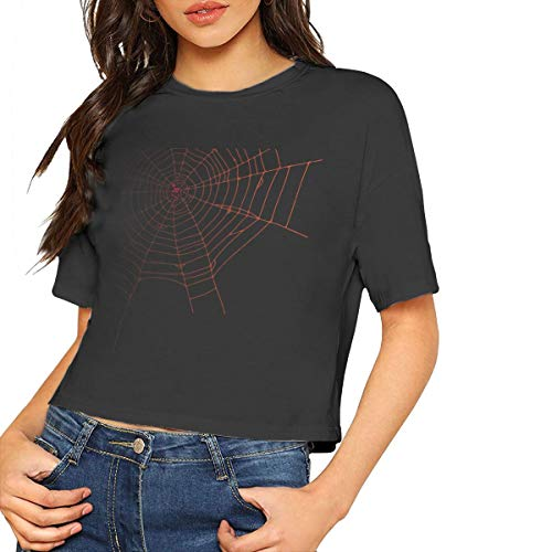 Women's Spider Web Crop Top Sexy Short Sleeve T-Shirt Top Black ()