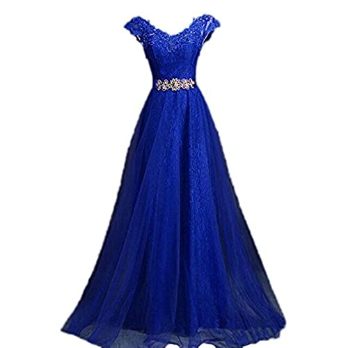 Womens V Neck Cap Sleeve Lace Evening Gowns Party Prom Dress, Blue, US22W