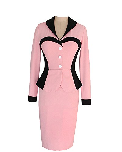 SaiDeng Donne Elegante A-Line Vestito Ol Professionale Vestito Elegante Ginocchio Lunghezza Vestito Un Pezzo Pink