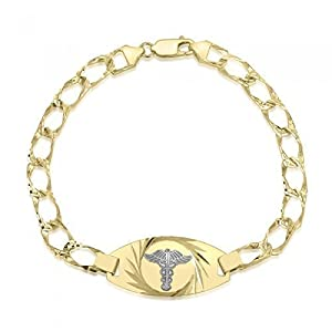 10K Diamond Cut Medical Alert Bracelet - Medical Data - Engraving Available - Diamond Cut Link - Solid