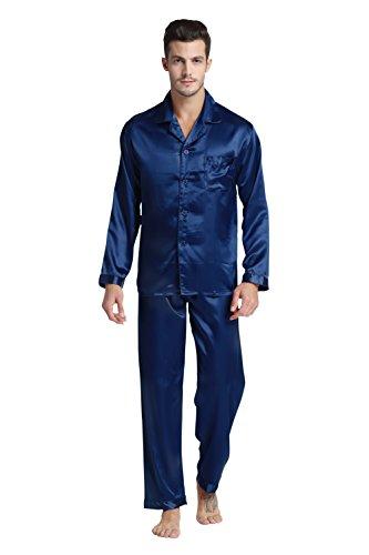 Tony & Candice Men's Classic Satin Pajama Set Sleepwear (Medium, Navy Blue)