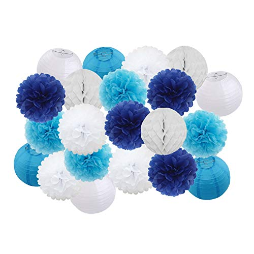 21pcs/set Baby Shower Decoration Blue/Green/Pink Solid Round Paper