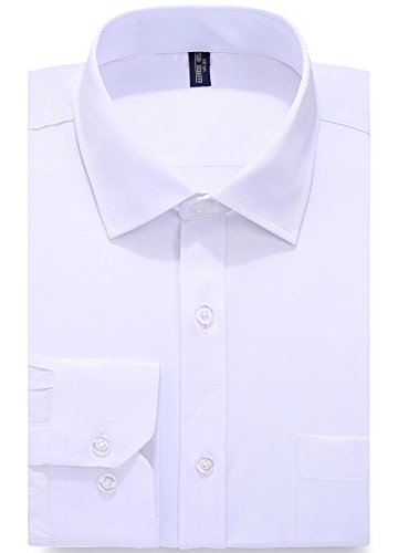 Alimens & Gentle Design Solid Color Regular Fit Long Sleeve Dress Shirts - Color White, Size: 16'' Neck - 32''/33'' Sleeve by Alimens & Gentle
