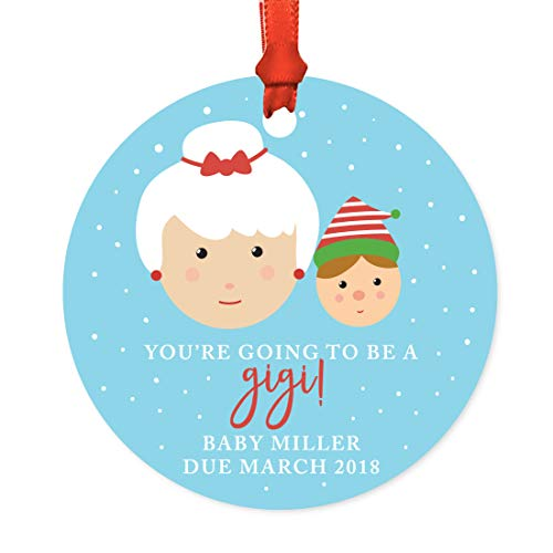 Andaz Press Personalized Pregnancy Announcement Metal Christmas Ornament, You're Going to be a Gigi! Baby Miller Due March 2018, Santa and Mrs. Claus with Elf, 1-Pack, Includes Ribbon and Gift Bag -  APP12212