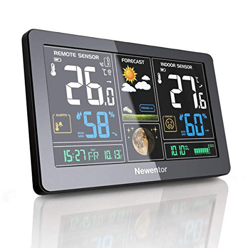 Newentor Weather Station Wireless Digital Indoor Outdoor Thermometer with Alarm Clock, Color Large Display Hygrometer Temperature and Humidity Monitor with Calendar and Adjustable Backlight