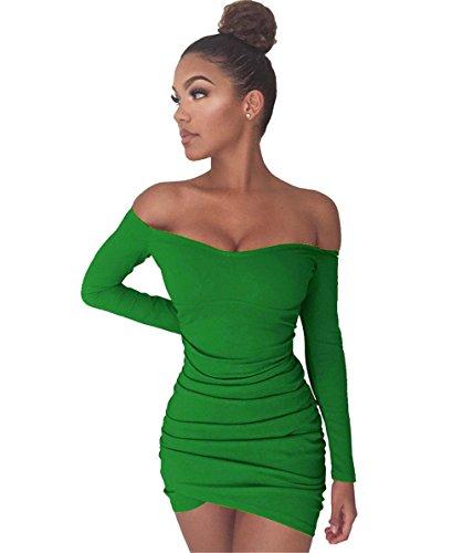 JOTHIN Damen Langarm Schulterfrei Clubwear Kleider Bodycon Pin-up Minikleid  Sexy Cocktailkleid Edel Ballkleid Grün 04c6b4f8ef