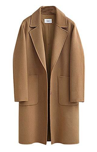 chouyatou Women's Plain Snap Button Up Single Breasted Long Wool Coat (Small, Khaki)