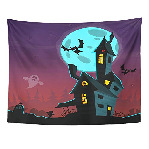 Emvency Tapestry Artwork Wall Hanging Bat Cartoon Scary Haunted House Halloween Black Mansion Castle Celebration Dark 60x80 Inches Tapestries Mattress Tablecloth Curtain Home Decor Print]()