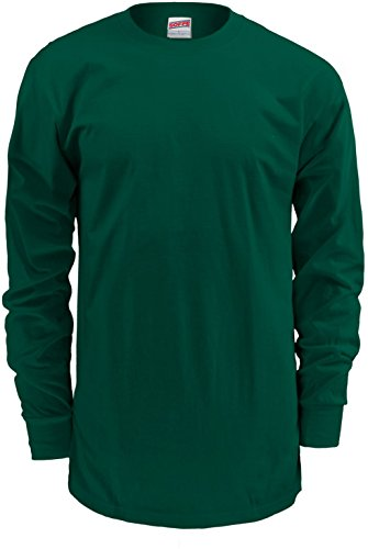 Soffe Men's Midweight Cotton Long Sleeve Shirt (XXL, Dk Green)