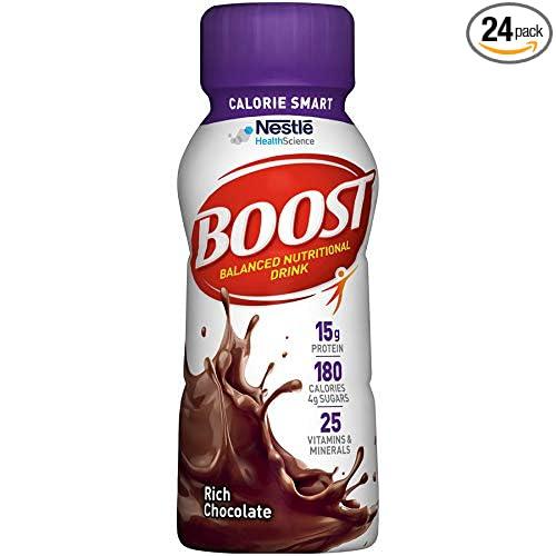 b41e76d127534 Boost Calorie Smart Balanced Nutritional Drink, Rich Chocolate, 8 Fl. Oz  Bottle, 24 Pack...
