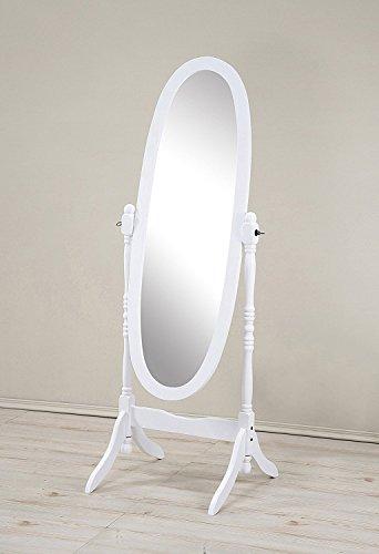 Mirror MIRROR7028WHITE Cheval Floor Oval White ()