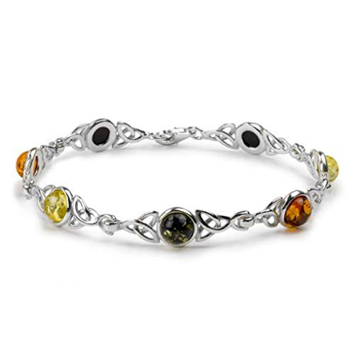 Sterling Silver Multicolor Amber Celtic Knot Bracelet Length 7 ()