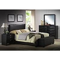 New Modern Luxury Quality Queen Size Faux Leather Bed Frame, Black Clearance Sale