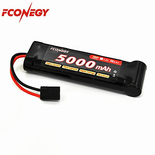 Fconegy NiMH Battery 8.4V 5000mAh 7-Cell Flat Pack with Traxxas Plug for RC Cars, RC Truck 5000 Mah Nimh Flat