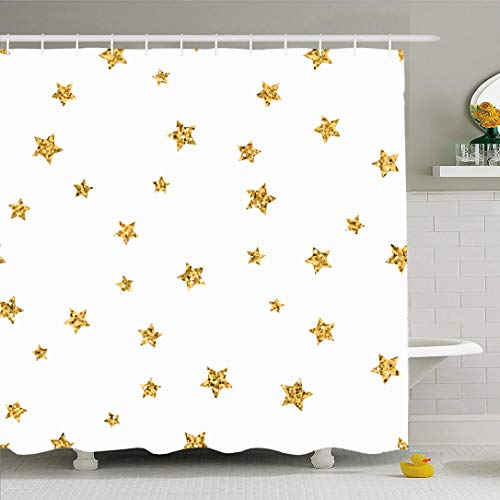 Ahawoso Shower Curtain for Bathroom 66x72 Glow Polka Yellow Foil Stars Pattern White Retro Endless Holidays Abstract Chaotic Christmas Confetti Waterproof Polyester Fabric Bath Decor Set with Hooks (Confetti Christmas Bath)