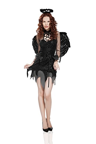 Adult Women Fallen Angel Costume Halloween Cosplay Role Play Dark Evil Dress Up (Small/Medium, Black, Gray)