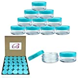 (Quantity: 50 Pieces) Beauticom 5G/5ML Round Clear Jars with TEAL Sky Blue Lids for Scrubs, Oils, Toner, Salves, Creams, Lotions, Makeup Samples, Lip Balms - BPA Free
