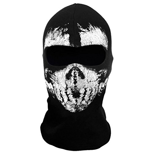 Coofit Balaclava Ski Face Mask Motorcycle Neck Warmer Tactical Balaclava Hood (Skeleton Halloween Mask)