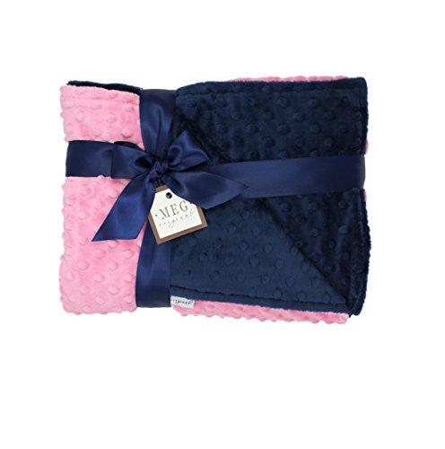 MEG Original Paris Pink and Navy Blue Minky Dot Baby Girl/Toddler Crib Blanket 667
