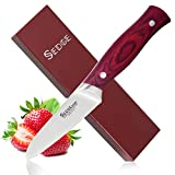 SEDGE Paring Fruit Peeling Knife 3.5 Inch - Razor Sharp Blade - High Carbon German Stainless Steel - Ergonomic Pakkawood Handle with Gift Box - ST Series