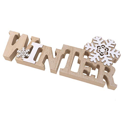 Garneck Christmas Wooden Tabletop Decoration Winter Sign Snowflake LED Ornament for Xmas Holiday Party Table Centerpiece Gifts