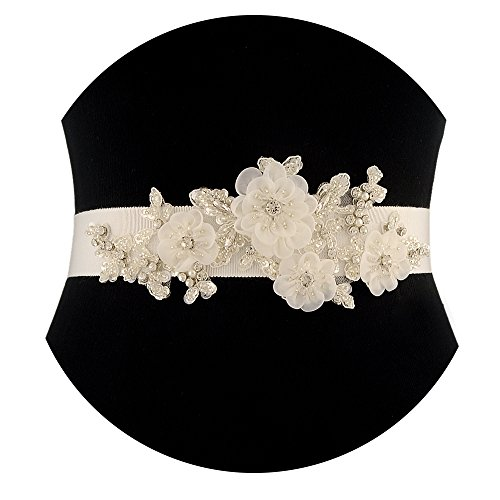 THK-Wedding Floral Beaded Satin Bridal Sash Wedding Belt for Wedding (Ivory)