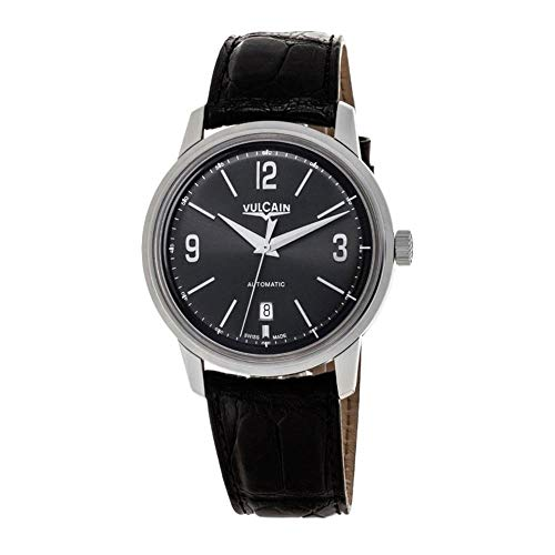 Vulcain Men's 50s Presidents 42mm Black Alligator Leather Band Steel Case Automatic Watch 560156-305L