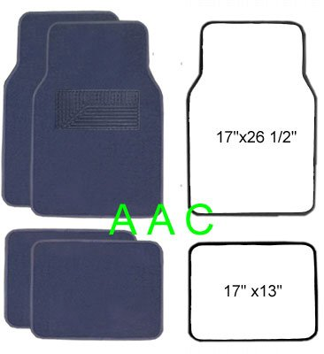 A Set of 4 Universal Fit Plush Carpet Floor Mats for Cars - Navy ()