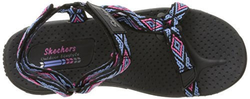 Women's Decked Black Skechers Out Sandal Reggae Flat Multi Sqdd7Fw