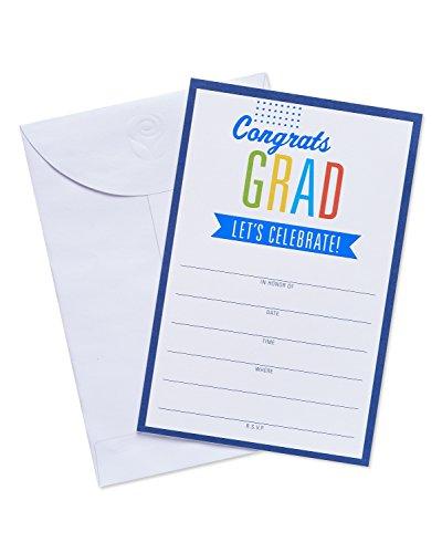 American Greetings 25 Count Congrats Grad Invite Postcards, Black -