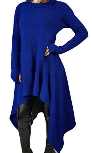 Hoodie Allentato Blu Lunga Bordo Felpa Donne Delle Vestito Manica Irregolare Con Domple Pianura Cappuccio wSTY14q