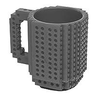 OliaDesign ladrillos creativos taza–sin BPA 12oz taza de café, jardín, césped, Mantenimiento (Gris)